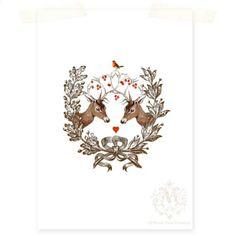 Deer, Giclee, Art Print, Deer, Antlers, Digital Print, Acorn Wreath, Poster, Woodland, Red Heart, Red Berries, Love. $16.00, via Etsy. CafeBaudelaire shop