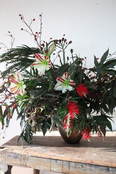 an unexpected holiday arrangement from sophia moreno-bunge | gardenista, castor bean clippings