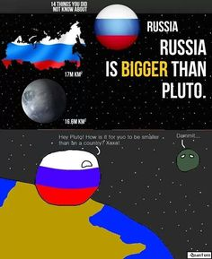 Russia is bigger than Pluto Short Jokes Funny, Funny Tweets, Funny Images, Funny Pictures, Excuse Moi, Aviation Humor, Lol, Les Sentiments, Quality Memes