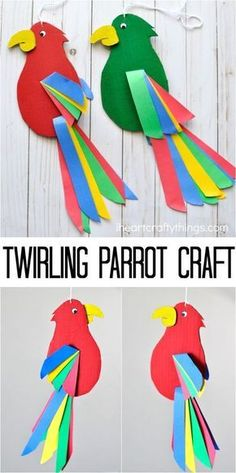 - Birds - Colorful and fun twirling parrot craft for kids. Great bird craft for a jungle t. Colorful and fun twirling parrot craft for kids. Great bird craft for a jungle theme unit, fun kids crafts and jungle crafts for kids. Fun Crafts For Kids, Toddler Crafts, Projects For Kids, Art For Kids, Craft Projects, Kids Fun, Craft Ideas, Children Crafts, Paper Craft For Kids
