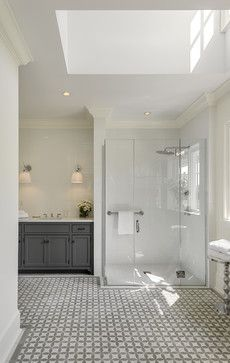 Pool House in the Country - farmhouse - Bathroom - New York - Crisp Architects-walk in shower, no step up