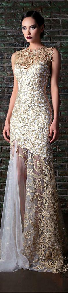White and Gold Wedding. Gold Bridesmaid Dress. Elegant and Glamorous. Rami Kadi         ᘡղᘠ