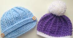 Free Crochet Pattern: Newborn Ribbed Beanie or Newsboy Hat