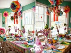 Colourful party decor