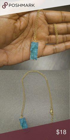 """Aqua druzy necklace A gold druzy necklace  18"""" long  Lead/nickel compliant Jewelry Necklaces"""