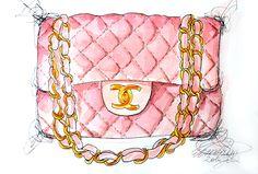 Chanel Bag Illustrations | Chanel pink flap bag illustration
