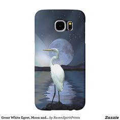 Great White Egret, Moon and Water Wildlife Art 3 Samsung Galaxy S6 Cases and many other case models!