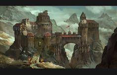 hillside stronghold by AndrewRyanArt.deviantart.com on @deviantART