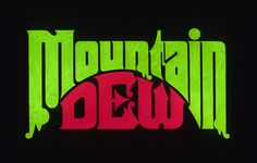A pitched (and presumably rejected) design for the Mountain Dew logo. Probably a lot better than this one. Japanese Typography, Typography Letters, Typography Poster, Graphic Design Typography, Logo Design, Lettering, Design Web, Type Design, Herb Lubalin
