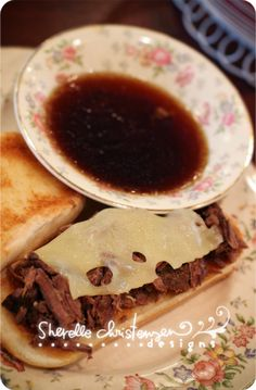 French Dip  1beef roast  4.5Cwater  1/2C soy sauce  3 beef bullion cubes  1 bayleaf   1 tsp. dried thyme  1tsp garlic pwdr  1pkg. au jus mix (dry)  roast in slow cooker. season roast with s combine other ingredients and pour overtop. cook 8hrs shred meat. serve on split rolls with swiss cheese. pour au jus in small bowl dip and enjoy.