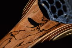 Custom Spalted Maple Fly Fishing Net with hand-carved and black stone Inlaid Mayfly by Sierra Nets