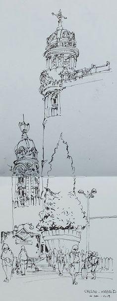 URBAN SKETCHERS FRANCE: Voyage à Madrid en famillle.