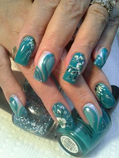 Teal French manicure, long nails.   Nails Art   Nails Design