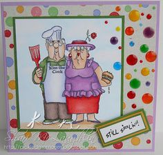 BBQ Couple (Sku#T3478) from Art Impressions Golden Oldies line.  Handmade card.