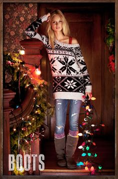 """like the over sized sweater with the ripped jeans and slouchy boots, very cute and comfy.."" {to get in the spirit of Christmas I need a sweater like this, just saying} $69.50"