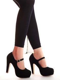 Shop Suedette Pin Buckle Strap Heels in Black from choies.com .Free shipping Worldwide.$54.99