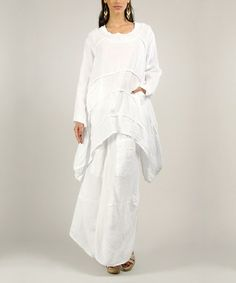Look what I found on #zulily! White Linen Sidetail Tunic by 100% LIN #zulilyfinds