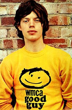 mick jagger wearing a wmca good guys sweatshirt.i listened to this station all the time in the Mick Jagger, The Rolling Stones, Keith Richards, Music Icon, My Music, Elvis Presley, Style Année 70, Estilo Rock, We Will Rock You