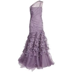 MONIQUE LHUILLIER One Shoulder Gown (538,365 PHP) ❤ liked on Polyvore featuring dresses, gowns, vestidos, long dresses, long chiffon dress, floral chiffon dress, purple ball gowns, purple floral dress and purple chiffon dress