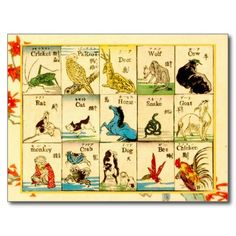 Animals labeled in Japanese & English Post Card