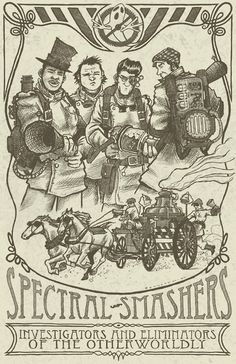"""Steampunk Ghostbusters-inspired """"Spectral Smashers"""" by Jerry Bennett  Available for purchase from RedBubble and Shirtoid."""