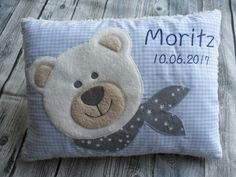 Baby pillow with name teddy bear baptism birth cuddly pillow name birth pillow personalized Bear pillow Teddy Pillow Teddy Babykissen mit Namen Teddy-Bär Taufe Geburt Kuschelkissen Cuddle Pillow, Baby Pillows, Throw Pillows, Quilt Baby, Personalized Pillows, Personalized Gifts, Decoration Gris, Pdf Sewing Patterns, Applique Designs