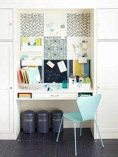 pretty office. I love the fabric elements and floating desk.