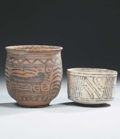 indus valley painted pot | Indus valley pottery jar and a cup. 2300 - 2000 B.C. and 3300 - 3000 B ...