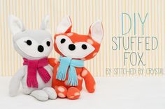 DIY Stuffed fox. Make this cute little guy for a cutie in your life. Follow the easy tutorial.
