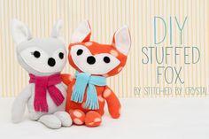 DIY Stuffed Fox Free PDF Pattern http://snapcreativity.com/diy-stuffed-fox/ Template here: http://snapcreativity.com/wp-content/uploads/2013/12/Stuffed-Fox-Pattern-by-Stitched-by-Crystal.pdf