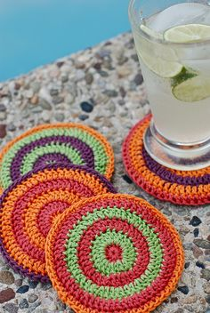 Summertime Cocktail Coasters by Kirsten Kapur - this free crochet pattern looks like a great way to use up leftover yarn!