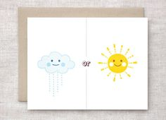 Anniversary Card  Rain or Shine Card Friendship by HappyDappyBits, $4.00
