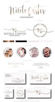 Rose Gold Premade Logo, Fashion Logo, Blogger Logo, Stylist Logo, Chic Logo, Photography Marketing, Rose Gold Branding Package by PeachCreme