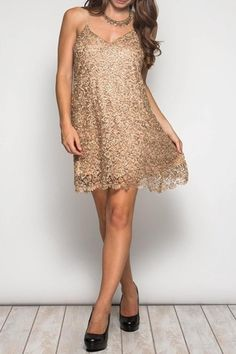 Perfect dress for when you need to shine. Spaghetti strap sequin crochet lace shift dress.   Sparkle Shift Dress by She & Sky. Clothing - Dresses - Night Out New York