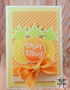 Card by Lisa Henke. Reverse Confetti stamp set and coordinating Confetti Cuts: Pineapples Aplenty. Birthday card. Friendship card.