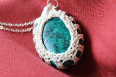 Turquoise Oval Crochet Stone Necklace by FuchsiaFoxStudio on Etsy