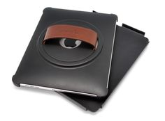 The Grabbit for iPad was recommended by a choral director.  It is a case with a hand strap on a rotating mount.  It has a detachable hard shell front cover that you pop off in order to access the screen. They offer a model with a black hand strap as well.