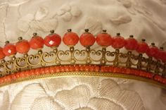 Antique Coral Tiara Diadem Crown with Faceted Beads French Empire Circa 1810. €2,000.00, via Etsy.