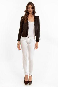 Black blazer + white tank + white jeans