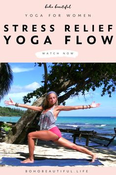 This stress relief yoga class is perfect for all levels. | Yoga Poses for Beginners | Through focusing on the breath work in each posture you will slowly start to feel tension melt away from you. Take it as slow as you need to, stay present in the moment, and allow yourself to let go of all that no longer serves you through each exhale you do. Grab your mat and join me. | Yoga Routine | Juliana Spicoluk Yoga Teacher | Boho Beautiful #yoga #fitness #workout #exercise #yogaroutine… Free Yoga Videos, Free Yoga Classes, Yoga For Stress Relief, Boho Beautiful, Beginner Yoga, Yoga Poses For Beginners, Yoga Routine, Yoga Flow, Yoga Teacher
