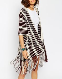 Image 3 ofASOS Knitted Cape In Stripe With Fringing