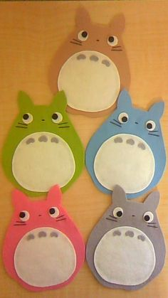 My Neighbor Totoro * Coaster * Totoro, Felt Crafts, Diy And Crafts, Paper Crafts, Halloween Door Decs, Handmade Diary, Crochet Bookmark Pattern, Sewing Projects, Craft Projects