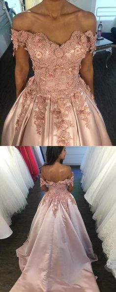 Light Pink Lace V-neck Ball Gown Satin Wedding Dress Off The Shoulder by MeetBeauty, $176.36 USD