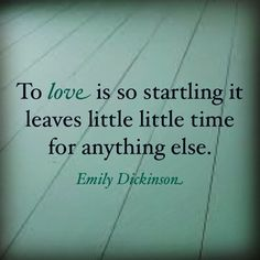 "Emily Dickinson ""To love is so startling it leaves little time for anything else."" Dear God, how true this is! Cute Love Quotes, Great Quotes, Inspirational Quotes, Poem Quotes, Quotable Quotes, Emily Dickinson Quotes, Romance, Thats The Way, Real Love"