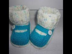 Туфельки с имитацией носочка Knitting booties - YouTube