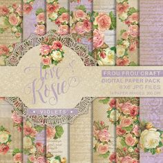 Violet Roses Digital Paper Pack Instant Download by froufroucraft