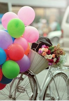 happy day out Birthday Messages, Birthday Images, Birthday Greetings, Birthday Wishes, Happy Birthday, Beautiful Inside And Out, Beautiful Flowers, Balloons Photography, Bicycle Decor