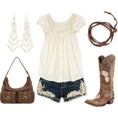 Lace by hotcowboyfan on Polyvore Would be perfect for State Fair Week!