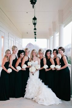 The wedding color scheme that never goes out of style! Black + White. love the long black bridesmaids dresses http://www.pinterest.com/JessicaMpins/