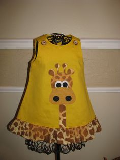 2T girls dress appliqued with cute giraffe by NanasCraftyCreations, via Etsy.